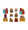 set suitcases styles icons vector image vector image