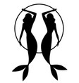 silhouette twins mermaids retro pin-up style vector image