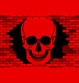 skull and broken wall vector image vector image