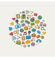 sticker mobile apps set in form circle vector image vector image