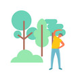 stretching outdoor sporty man near trees vector image