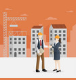 successful partnership in construction business vector image