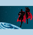super dad mom and baby space silhouette vector image vector image
