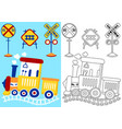 train with railroad signs cartoon vector image
