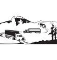 trucks with goods cross mountain in winter vector image vector image