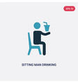 two color sitting man drinking a soda icon from vector image vector image
