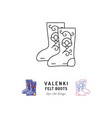 valenki icon felt boots sign traditional russian vector image vector image