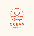 whale and sea wave lineart logo design vector image vector image
