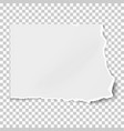 white square paper tear isolated on transparent vector image vector image