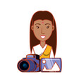 woman indian with photographic camera and picture vector image vector image