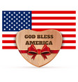 wooden heart against background us flag vector image vector image