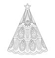 zentangle Christmas tree ornamental hand drawn for vector image vector image