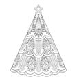 zentangle christmas tree ornamental hand drawn vector image vector image