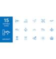 15 aircraft icons vector image vector image