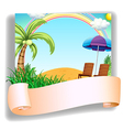A beach chair and an umbrella with a signage vector image vector image
