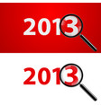 a magnifying glass and new year over white vector image vector image