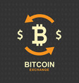 bitcoin exchange concept cryptocurrency sign vector image vector image