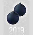 black christmas balls on light gray background vector image vector image