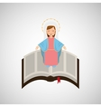 blessed virgin mary with bible design vector image vector image