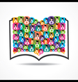 Book Icon colorful graduate student icons vector image vector image