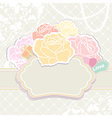Bouquet of roses with an empty cartouche vector image vector image