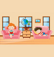 boy and girl in living room vector image vector image