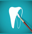 brush paints over white paint a human tooth vector image vector image