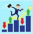 businessman running on growth arrow with profit vector image