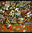 cartoon doodles italian food frame vector image vector image