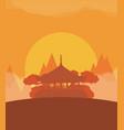 china flat design travel sunset vector image vector image