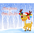 Christmas deer cartoon wearing red hat with winter vector image vector image