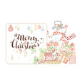 cute christmas invitation in outlined style vector image