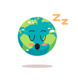 cute earth character sleeping cartoon mascot globe vector image vector image