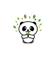 cute panda eats leaves baby vector image vector image