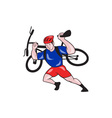 Cyclist Carry Mountain Bike on Shoulders Cartoon vector image vector image