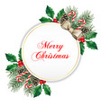 elegant white round christmas greeting card vector image