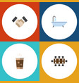 flat icon life set of tub partnership cappuccino vector image vector image