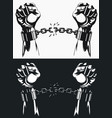 freedom hand breaking from handcuff chains vector image vector image