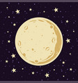 full moon and stars in night sky in cartoon vector image