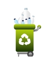 garbage bin with plastic bottles vector image
