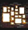 gold photo frames on a brick wall background vector image