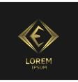 Golden E letter vector image