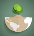 Green Eco Earth Paper green tree on globe vector image