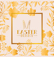 happy easter golden frame with rabbit ears and vector image