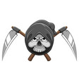 head grim reaper bones with two scythe vector image vector image