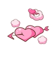 heart shaped cloud and arrow piercing two hearts vector image vector image