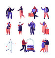 hotel staff and guests set businessman vector image vector image