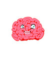 human brain with a face smiling cartoon vector image