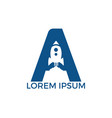 letter a rocket logo design vector image vector image