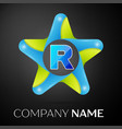 letter r logo symbol in the colorful star on black vector image